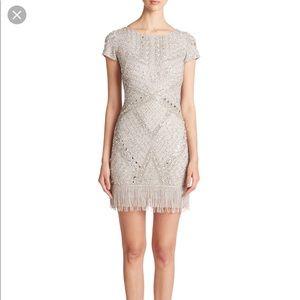 💥Aidan Mattox Silver sequin cocktail dress